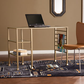 Upton Home Matte Gold Metal and Glass Writing Desk | Overstock.com Shopping - The Best Deals on Desks