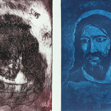 Jesus Crucifixion and Resurrection Collograph Print - His Return is Near - Religious Confirmation Gift Boy - Religious Icon