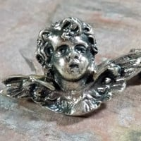 19th Century Antique Cherub Angel Pin Silver Marked 800 BAS Italy European Made Silver Small Angelic Cherub Pin Sweet Little Guardian Angel