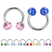 10pcs/lot Epoxy CZ Gem Crystal Horseshoe Rings 16G Circular Barbells Fake Nose Hoops Septum Tragus Piercing Body Jewelry LB12