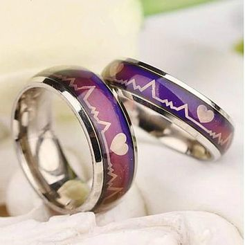 Mood Ring Color Temperature Changing Magic Stanless Steel Wedding rings for women men Fashion Jewelry