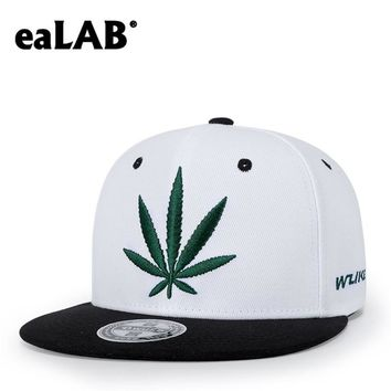 Trendy Winter Jacket eaLAB Hip Hop Cap Men Women Spring And Summer Hemp Leaf Embroidery Outdoor Sport Snapback Hats Adjustable Flat Baseball Cap AT_92_12