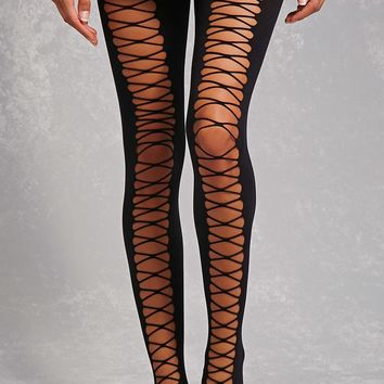 Lace-Up Thigh-High Tights