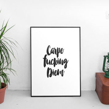 "typography print""carpe diem""inspirational quotes,motivational print,best words,winter gift,new year,gift idea,typography,dorm room decor"