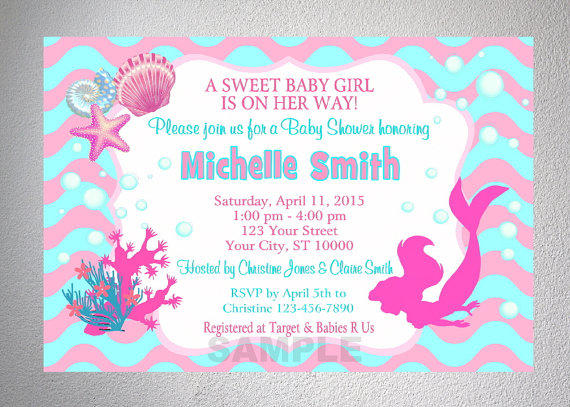 mermaid girl baby shower invitation from dpiexpressions on etsy
