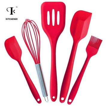 5PCS Kitchen Silicone Pastry Cooking Baking Sets Cook Tools Pastry Oil Utensil Basting Brush Spatulas DIY Baking Tools Gadgets
