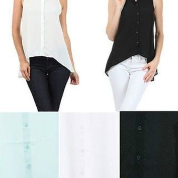 Sheer Chiffon Sleeveless Button Down Blouse Sequins Hi Low Hem Sequin Collar Top