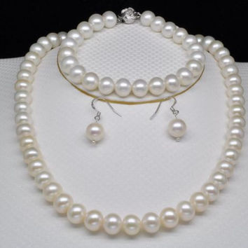 noble women gift Silver Clasp Double strand GW Natural AAAA GW Natural white 9-10mm Round pearl necklace&bracelet&earring