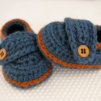 Denim Blue & Copper Button Loafer Baby Booties by MaddyMade