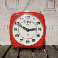 Retro/vintage orange alarm clock by Jaz, french vintage clock, alarm clock french, 1970s alarm clock, french clock, orange clock, réveil