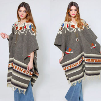 Vintage MEXICAN Poncho Grey ETHNIC Hippie Poncho TRIBAL Cape Wool Mexican Blanket Poncho