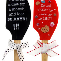 Set of 2 Red & Black Spatula Diet Tomorrow Eat Well Today Lost 30 Days Brownlow
