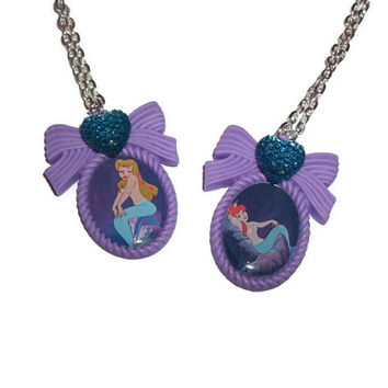 Peter Pan Mermaid Necklace, Purple Cameo Necklace, Teal Sparkly Heart, Disney
