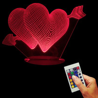 Cupid's Arrow Romantic Night Lamp The Arrow of Love Double Hearts 3D Led Lamp Desk Light Valentine's Gift