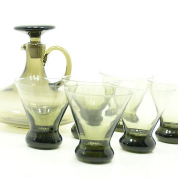Smokey Hand Blown Decanter And Glass Set