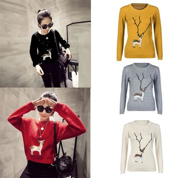 Womens Casual Christmas Deer Pearl Sequins Long Sleeve Jumper Sweaters Maglione da donna#S4
