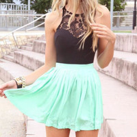 BUD SILK CHIFFON STITCHING DRESS SLEEVELESS PARTY SHORT SKIRT WAIST CULTIVATE ONE'S MORALITY