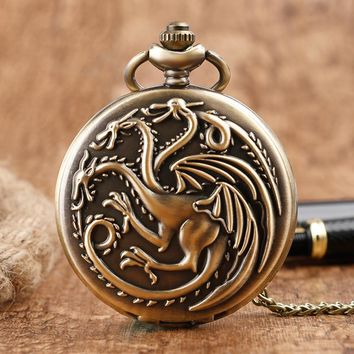 Steampunk Game of Thrones House Targaryen Quartz Pocket Watch Awesome Dragon Fire and Blood Man Women Necklace Pendant Clock