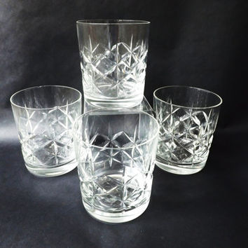 4 Cut Glass Whiskey Glasses, English Whisky Tumblers, Vintage Crystal Barware / Traditional Low Ball Glasses, Home Bar, Drinks Party