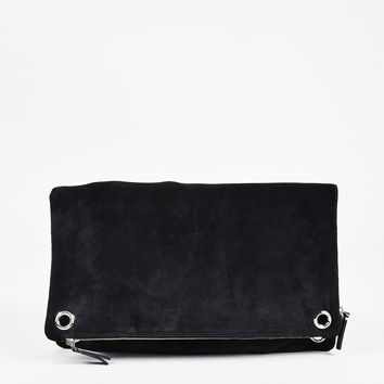 "The Row Black Suede ""Origami"" Fold Over Clutch Bag,Classic handbags and purse gift chanel"
