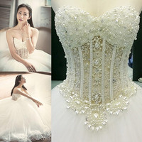 Real photo Vestidos De Noiva White Strapless Romantic Wedding Dresses  Lace Up Back Tulle Ball Gown Pearls Bridal Gowns WD071