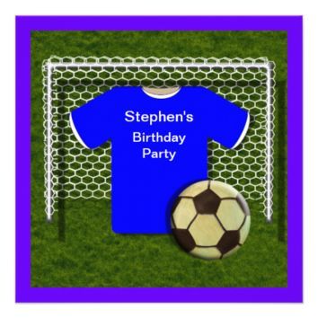 Blue  Football Theme  Birthday Party Invitations