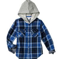 Pumpkin Patch - - check flannel hooded shirt - W5BY16010 - classic cobalt - 6 to 12