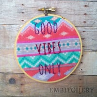 Good Vibes Only Sign - Good Vibes Wall Art - Boho Wall Decor - Boho Wall Art - Embroidery Hoop Art - Boho Wall Hanging - Hand Embroidery