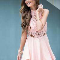 A Day to Be Alive Lace Dress Rose Pink