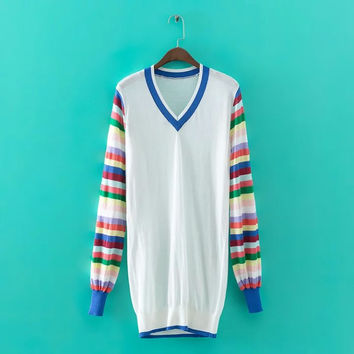 White Striped Print Long Sleeve V-Neck Knitted Long Sweatshirt
