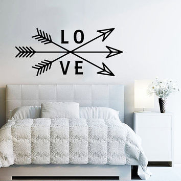 Wall Decal Arrow Love Vinyl Sticker Decals Art Home Decor Mural Feather Indie Boho Wall Decal Arrows Fashion Bohemian Bedroom Dorm AN706