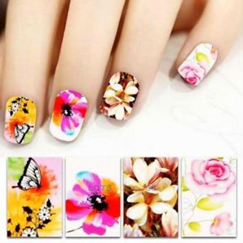 Flower Design DIY Water Transfer Nail Stickers Decals Nail Art Decoration Tool