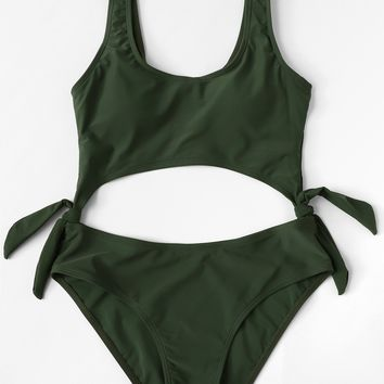 Tie Side Cut-Out Swimsuit
