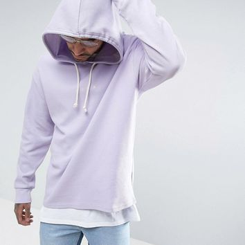 Puma Waffle Oversized Hoodie In Purple Exclusive to ASOS at asos.com