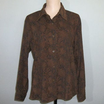 Women 80s Shirt Size XL 80s Blouse Fall Clothing Snakeskin Reptile Clothing Fall 1980s Long Sleeved Brown FREE SHIPPING Large Women Clothing