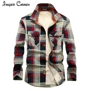 Men's Long Sleeve Flannel Style Plaid Cotton Shirt