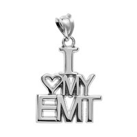 Insignia Collection Sterling Silver ''I Love My Emt'' Pendant (Grey)