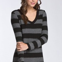 V-Neck Striped Top - Black and Gray