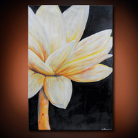 Blistfull Beauty- Original Acrylic Painting, Brown and Baige and White  Flower with Stem(Painting No. N031)