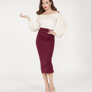 Pinup Couture Swann Top in Ivory Stretch Velvet