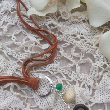 Genuine deerskin leather lace necklace - multi strand - hammered metal ring - Jade bead - Bone bead - Wood bead - Boho - Chic - Soft supple