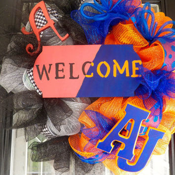 Alabama/Auburn Football  House Divided Deco Mesh Wreath