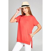 Crew Neck High Low Top - Coral
