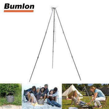Portable Camping Equipment Tool Aluminum Tripod Stand for Hanging Pot Outdoor Cooking Tripod Pot Campfire Grill Stand HT21-0010