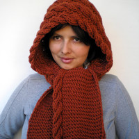 15CHRISTMAS Lady Marion Spice Brown Hood Super Soft  Acrilyc Hooded Cowl Hand Knit Cabled Hat Hood NEW COLLECTION