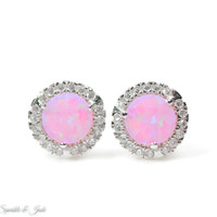 Sterling Silver Pink Fire Opal and CZ Halo Earrings