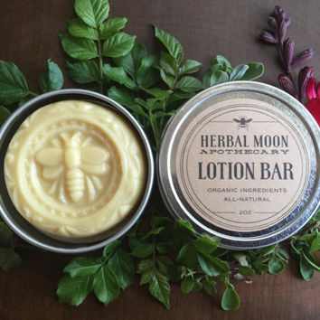 LOTION BAR, organic • solid lotion in eco-friendly tin • lush massage bar • no added scents
