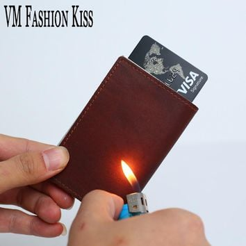 VM FASHION KISS Genuine Leather RFID Information Security Aluminum Bag Wallet Card Utomatic Business Credit Card Holder Wallet