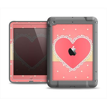 The Bright Pink Heart Lace V3 Apple iPad Air LifeProof Fre Case Skin Set