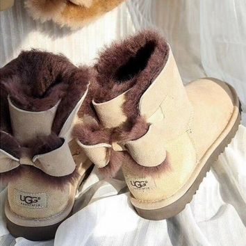UGG Fashion Winter Women Bowknot Flat Warm Snow Ankle Boots Sand Color G